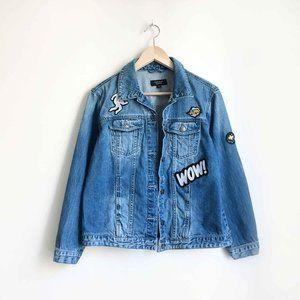 Vero Moda embroidered patch denim jacket - Small